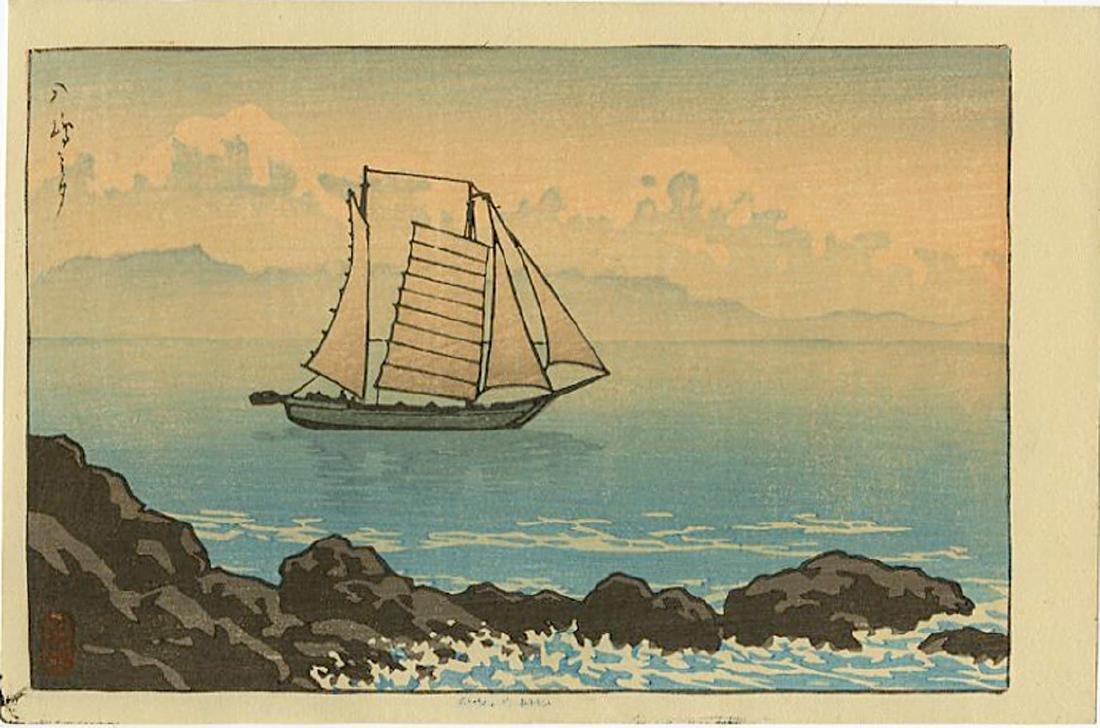 Kawase Hasui  Woodblock Sailing at Evening