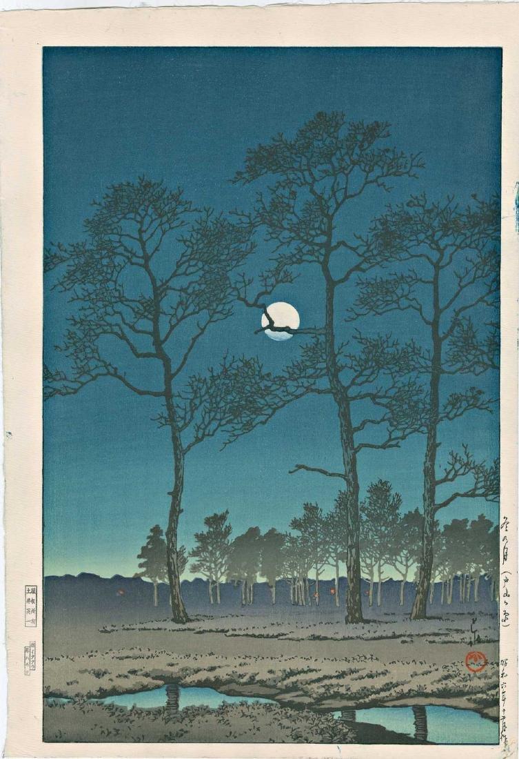 Kawase Hasui  Woodblock Toyamagahara Winter Moon