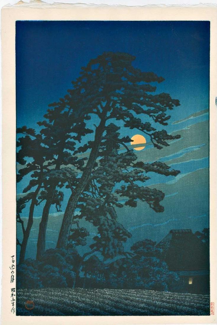 Kawase Hasui Woodblock Full Moon at Megome