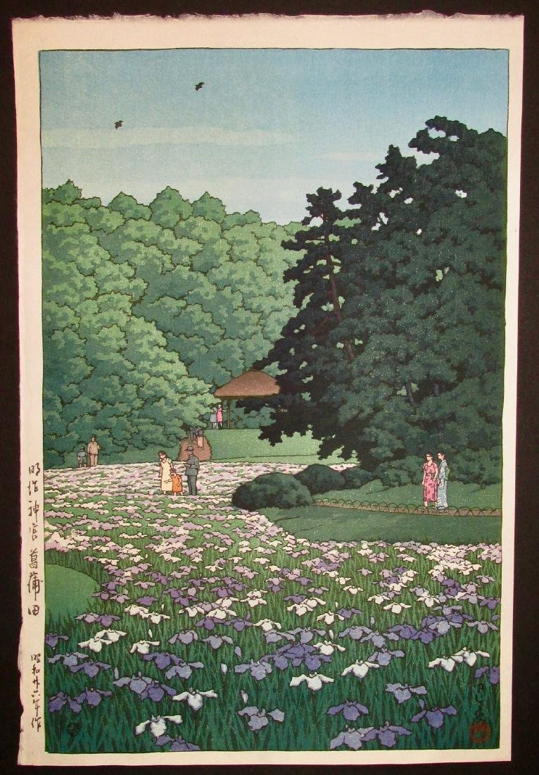 Kawase Hasui Woodblock Iris Garden Meiji Shrine Tokyo