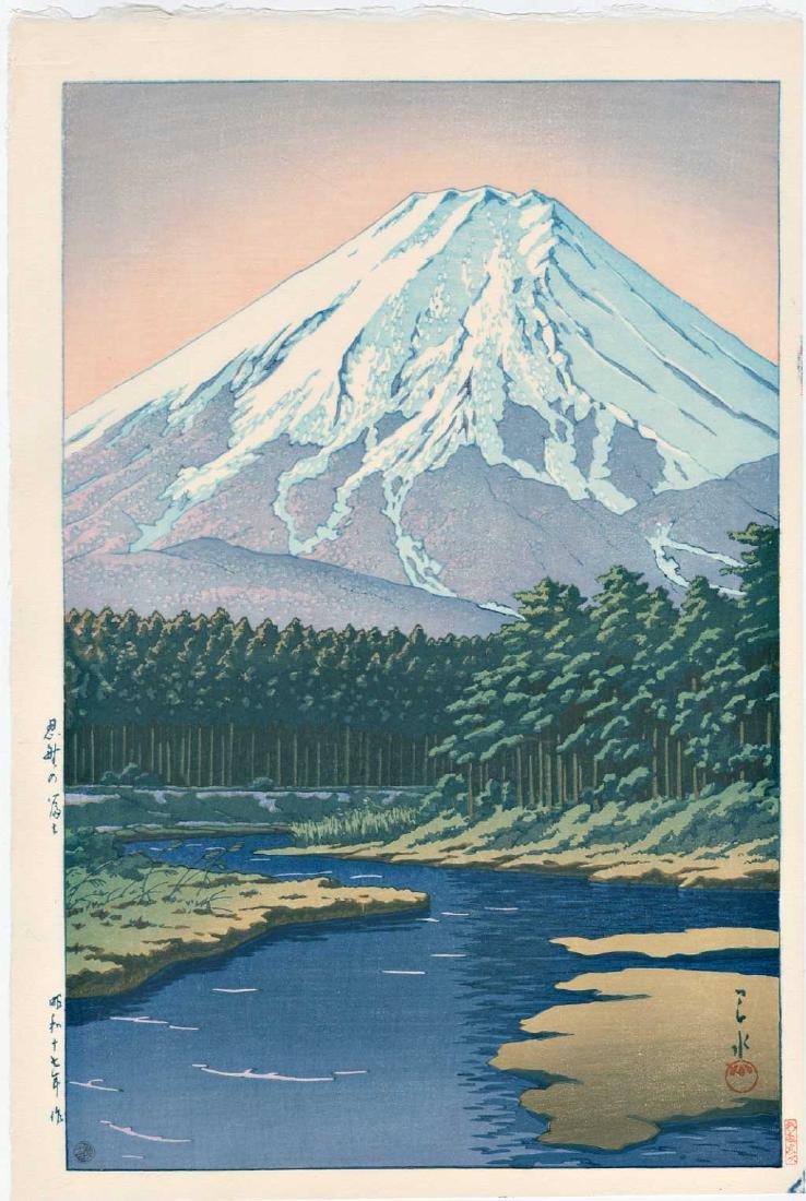 Kawase Hasui Woodblock Mt. Fuji from Oshino Hakkai