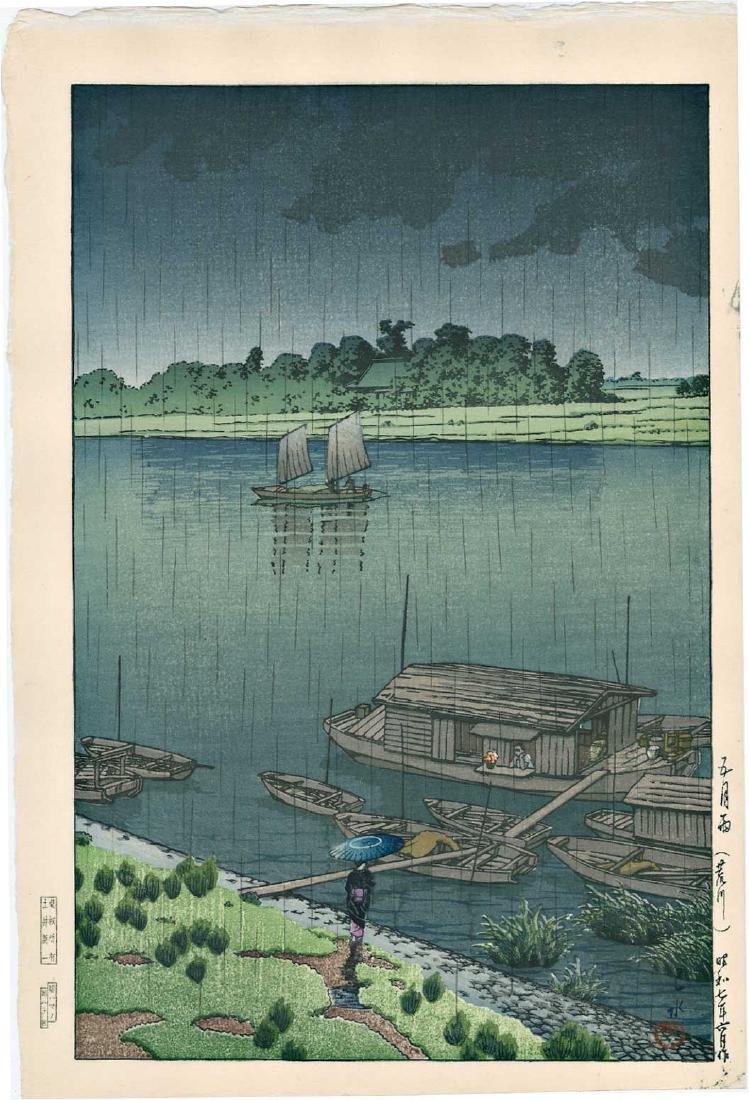 Kawase Hasui Woodblock Spring Rain at Arakawa River
