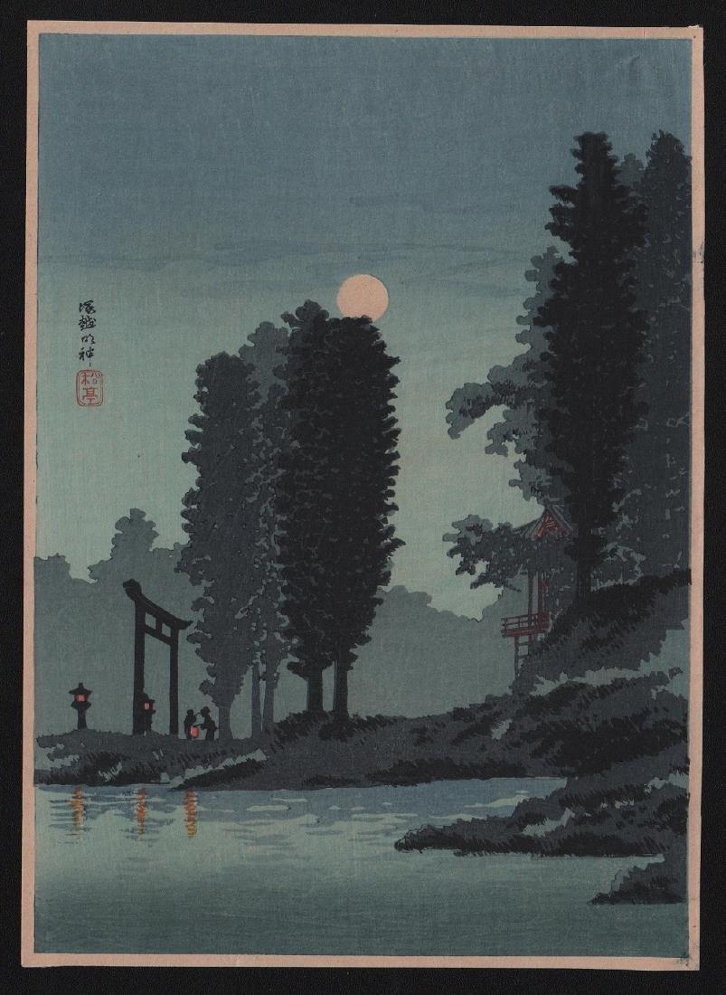 Takahashi Shotei Woodblock Moonrise Tsukagoshi Shrine