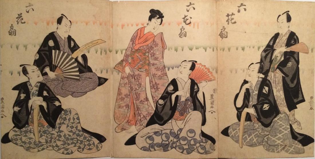 Utagawa Kunisada Woodblock Rokkasen 6 Famous Poets Fans