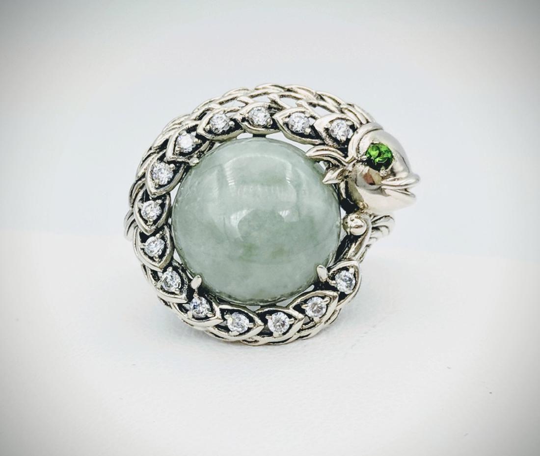 Sterling Silver Jade Demantoid Garnet Figural Fish Ring