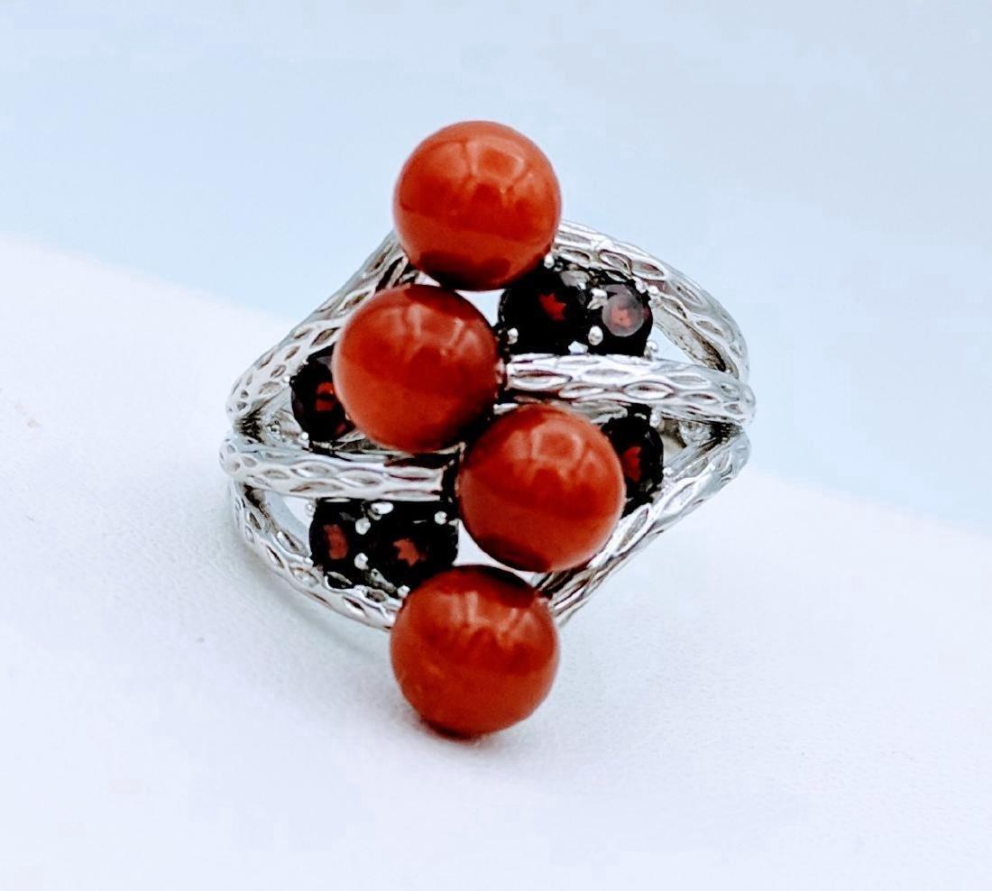 Sterling Silver Red Garnet Jasper Ring, .66ctw