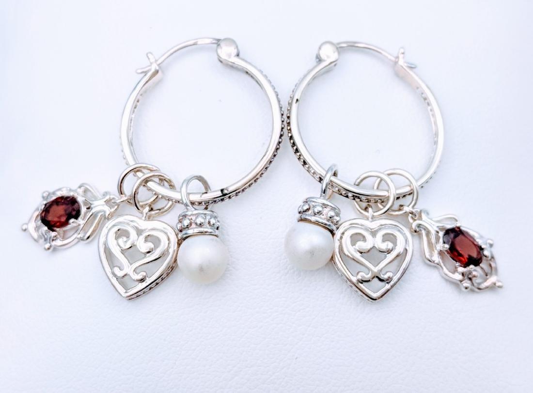 Sterling Silver Pearl Almandine Garnet Hoop Earrings