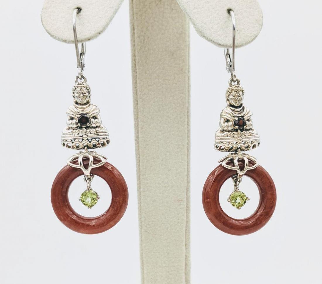 Sterling Silver Jasper Garnet Peridot Buddha Earrings