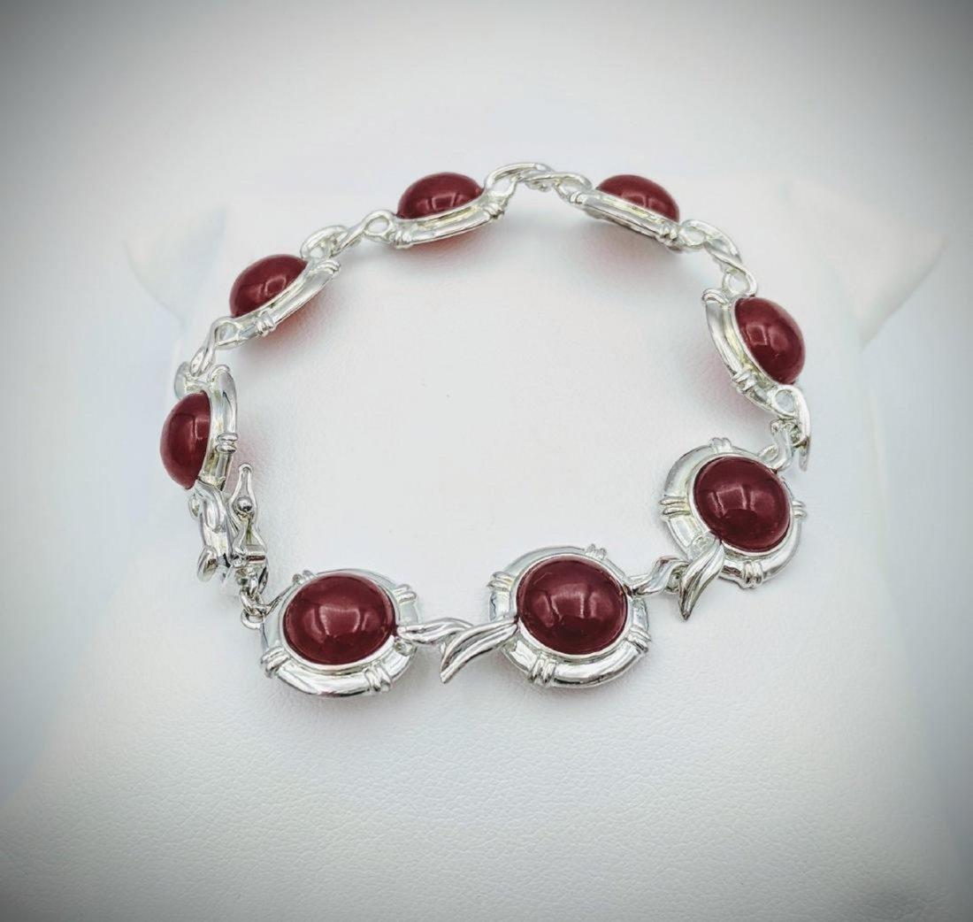 Sterling Silver Carnelian Bracelet