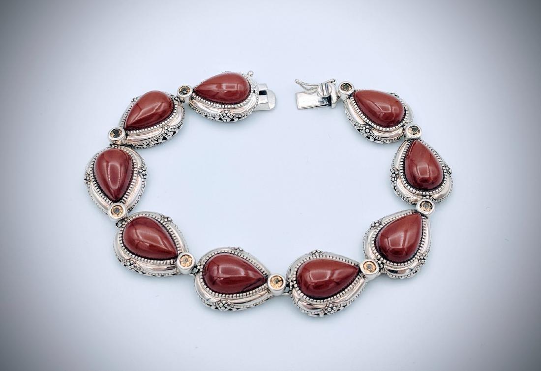 Sterling Silver Vintage Style Jasper Citrine Bracelet