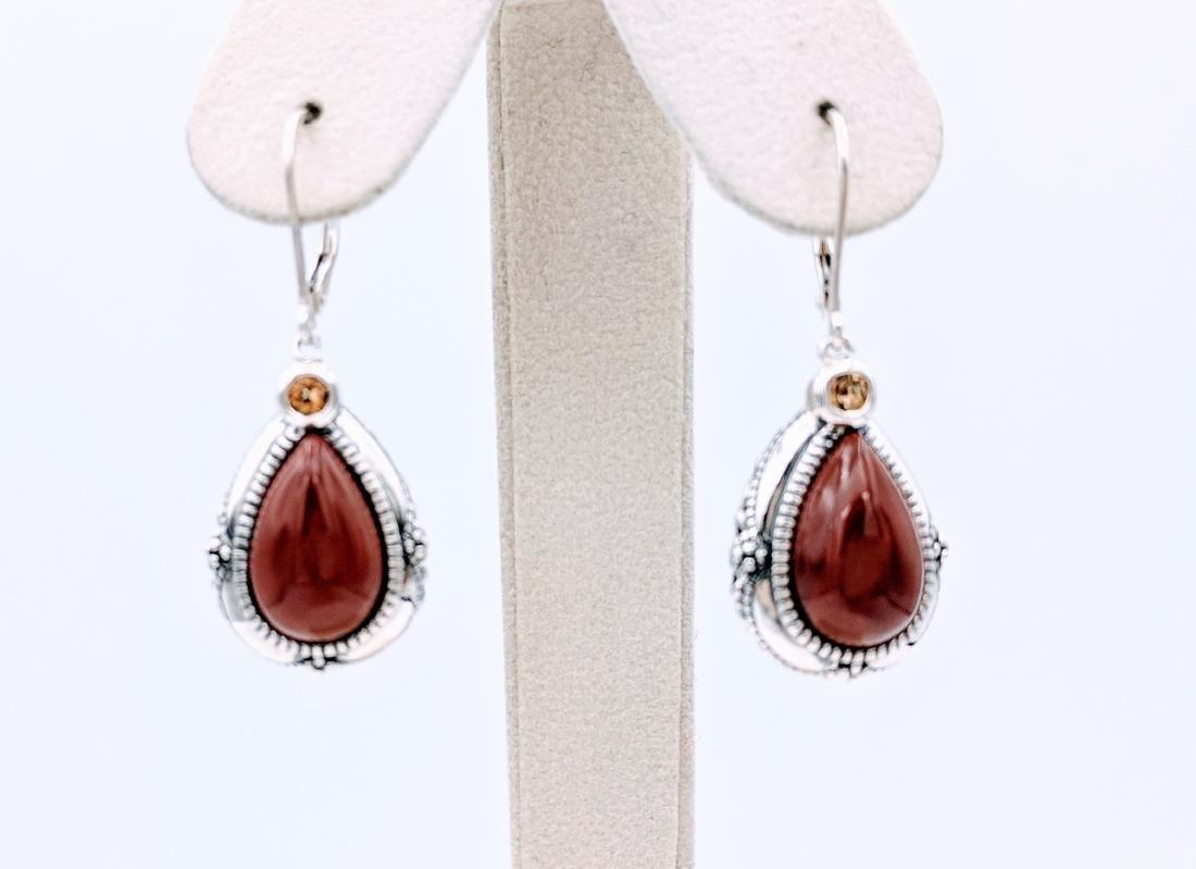 Sterling Silver Vintage Style Jasper Citrine Earrings
