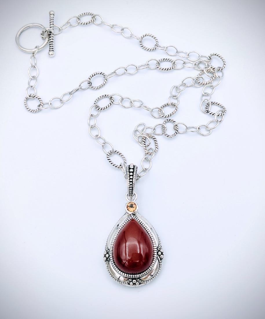 Sterling Silver Vintage Style Jasper Citrine Necklace