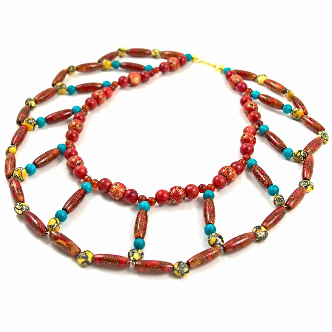 Egyptian Broad Collar Style Necklace - Wood, Coral,