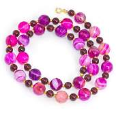 Fuchsia Agate Necklace with Bohemian Garnets, 14kt Gold