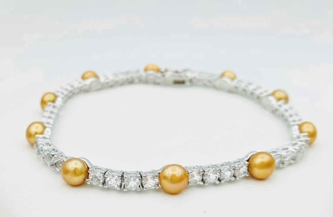 Sterling Silver Golden Pearl Cubic Zirconia Bracelet
