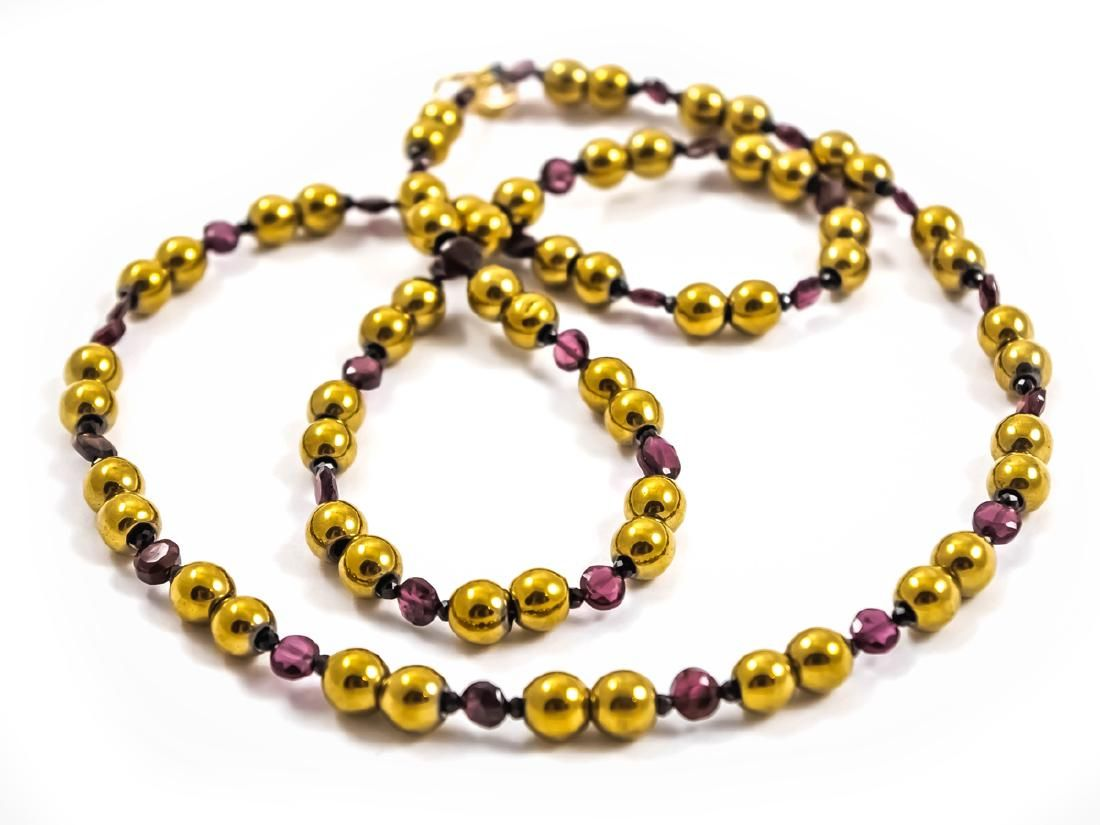 Art Deco Style Golden Necklace with Spinel, Bohemian
