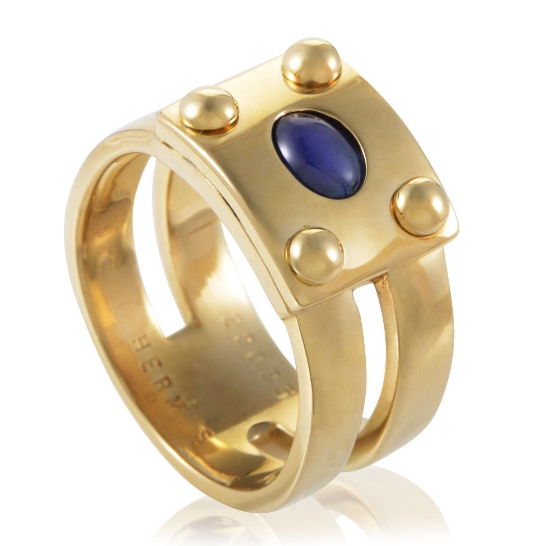 Hermes 18K Yellow Gold Sapphire Cabochon Ring, .40ct