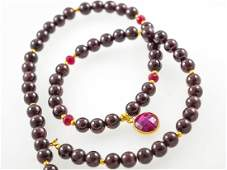 Bohemian Garnet and Ruby Pendant Necklace with 14kt