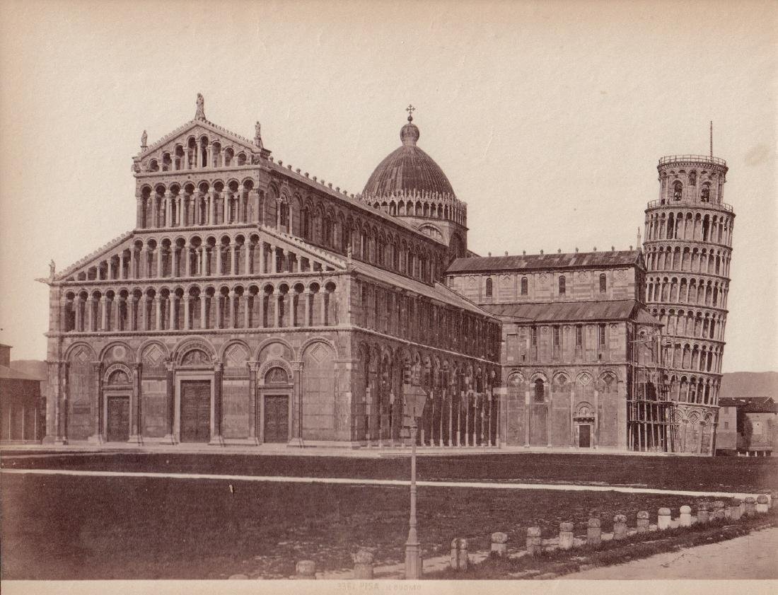 View of Leaning Tower of Pisa 1880's Albumen Photograph