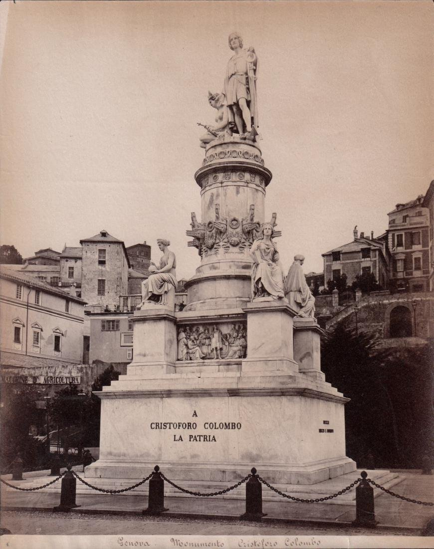 Monument Cristoforo Colombo 1880's Albumen Photograph