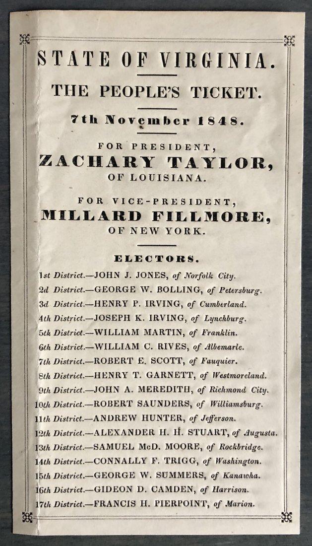 Zachary Taylor Millard Fillmore 1848 Campaign Ballot VA
