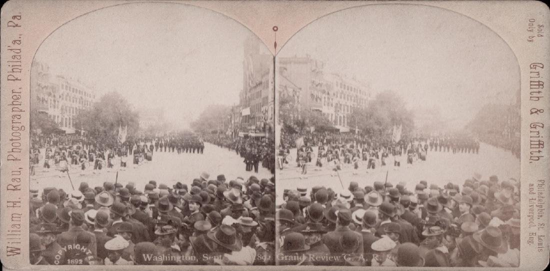 Stereoview by Wlliam Rau of G.A.R. Grand Review 1892