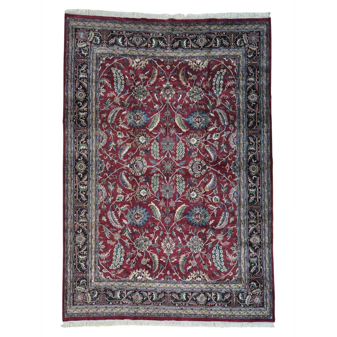 Indo Kashan Hand Knotted 100 Percent Wool Rug 9.4x13.5