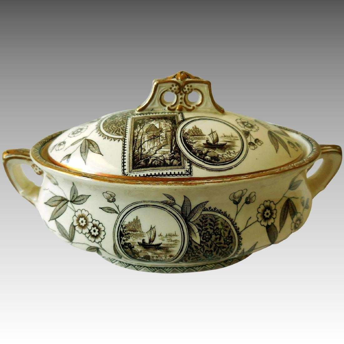 Early English Aesthetic Brown Transfer Tureen, 1912