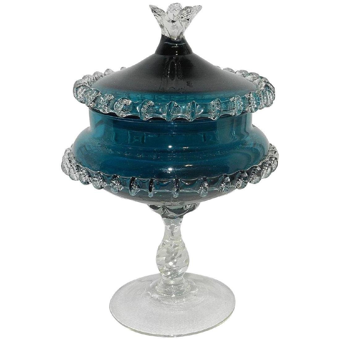 Vintage Teal Blue Hand Blown Lidded Candy Dish