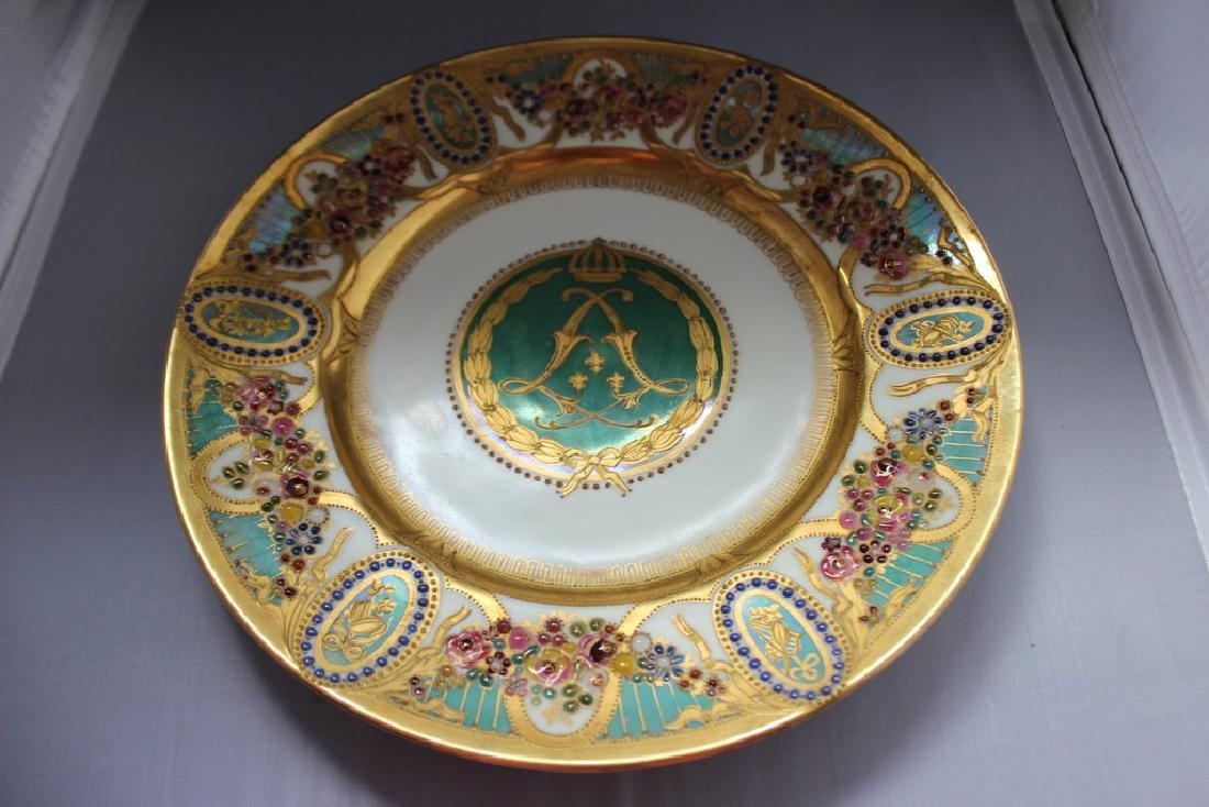 Antique Louis Philippe Sevres Hard Paste Jeweled Plate