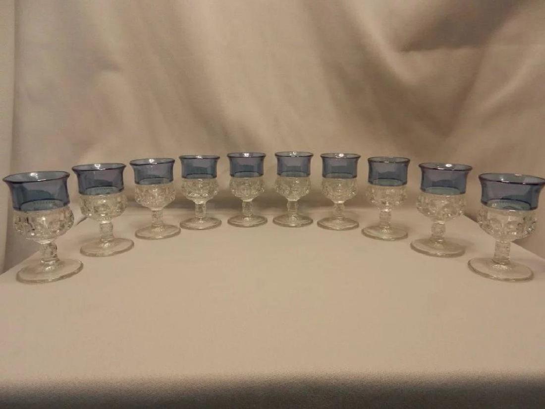 Set of 10 Vintage King's Crown Blue Flashed Cordials