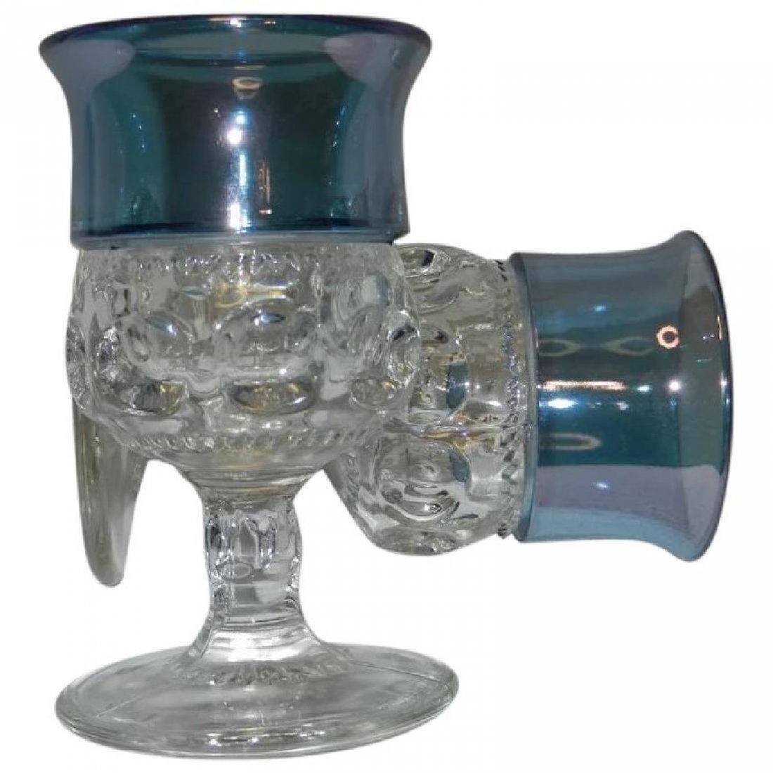 Set of 10 Vintage King's Crown Blue Flashed Cordials - 2