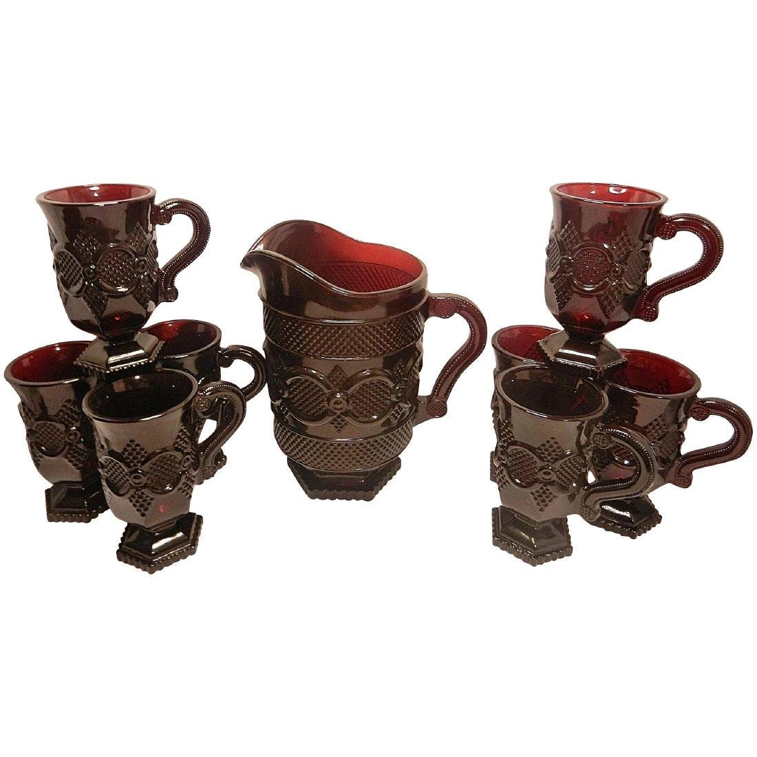 1876 Avon Cape Cod Pattern Ruby Pitcher and Mugs