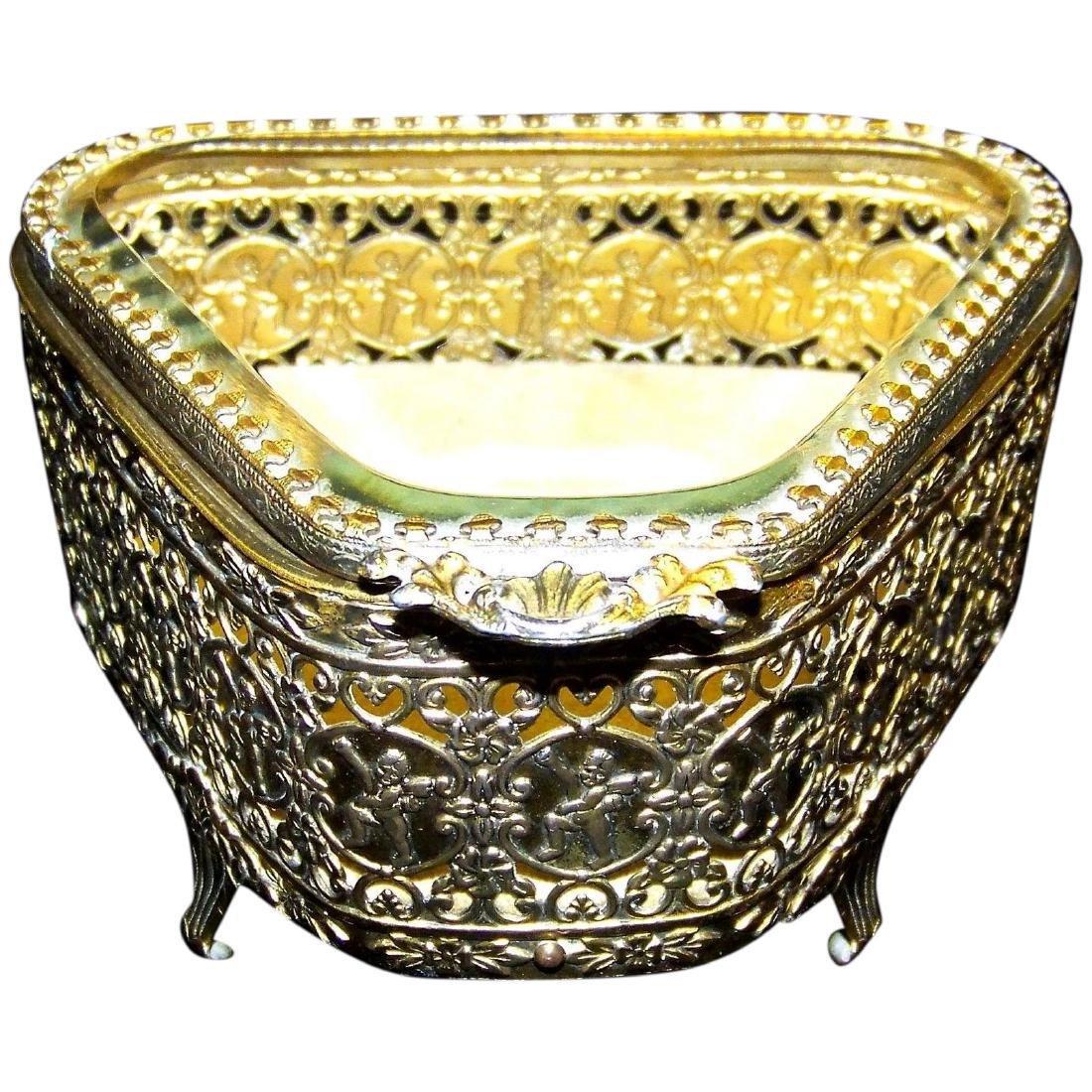 Vintage Stylebuilt Gold Filigree Ormolu Jewelry Casket