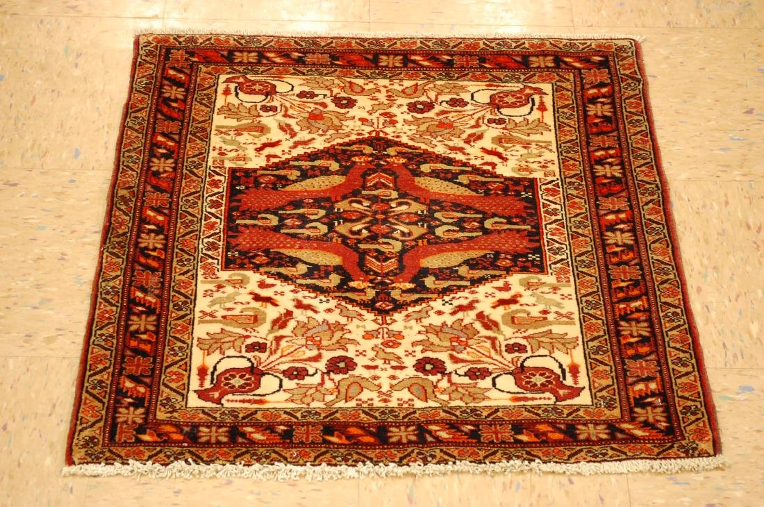 Detailed Bird Subject Persian Balouch Rug 2.5x2.5