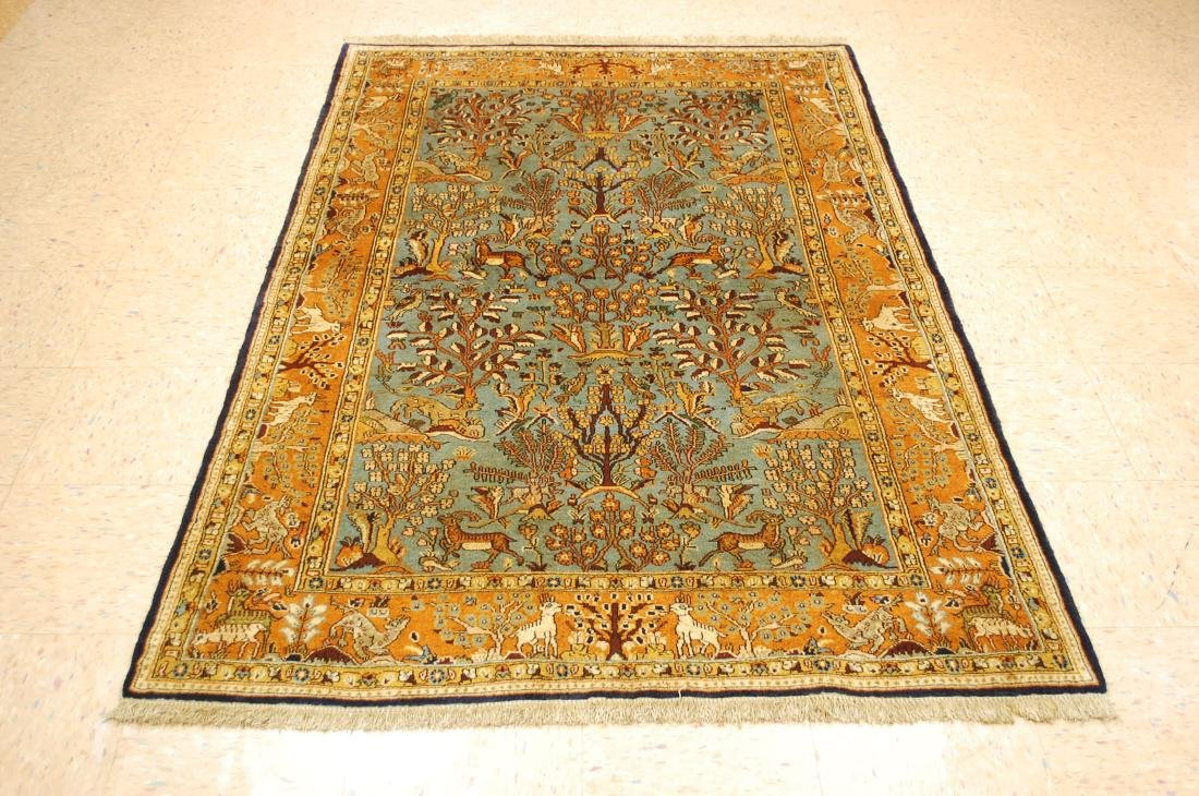 Animal Subjects Design Persian Qome Rug 4.4x6.9