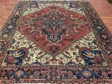 Vintage Persian Square Heriz Rug 7x8.5