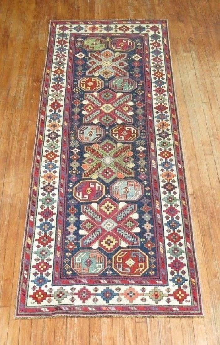 Antique Caucasian Lenkoran Kazak Shirvan Talish Rug 3x8