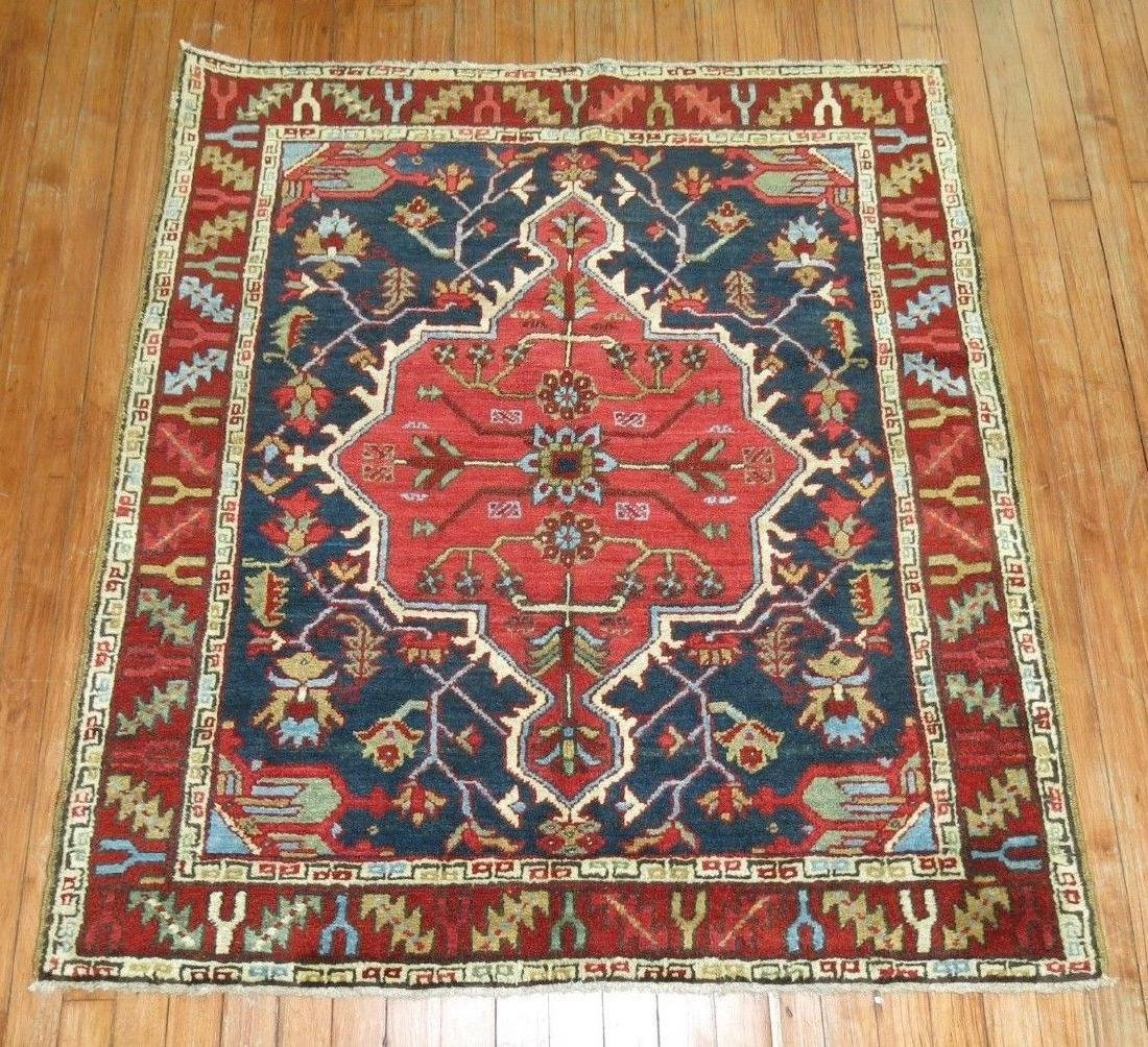 Antique Persian Heriz Serapi Karajeh Square Rug 3.9x4