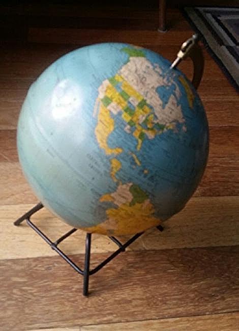 Vintage World Globe Metal Wire Base 1950