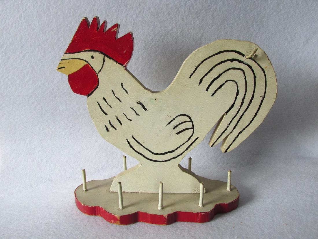 c1930's Folk Art Rooster Sewing Accessory Thread Holder
