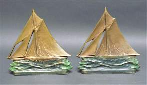 Sailboat on Water Cast Iron Bookends