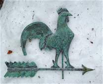 Mid 20th Century Full Bodied Copper rooster Weathervane