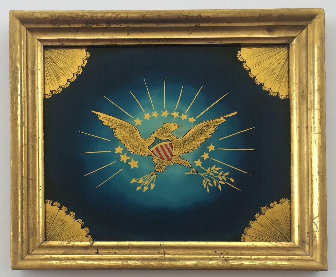 C 1860 Patriotic US American Eagle Shield Reverse Glass