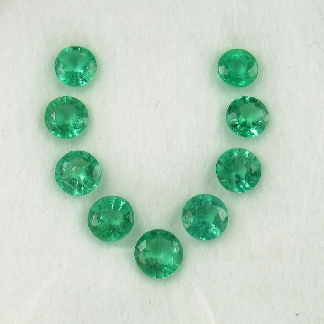 2.98 Carat 9 Loose Round Emeralds Necklace Set