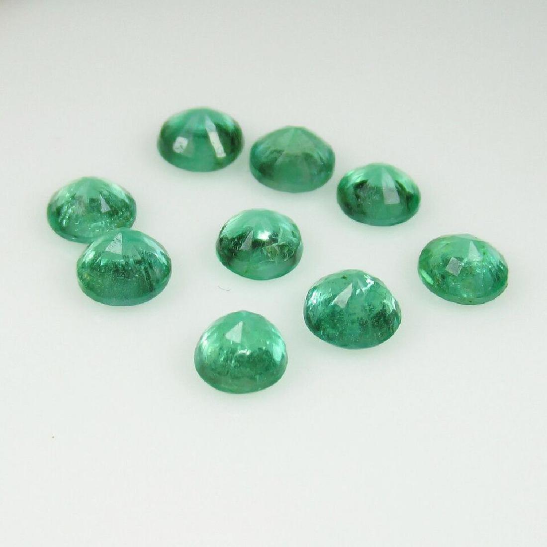 2.98 Carat 9 Loose Round Emeralds Necklace Set - 4