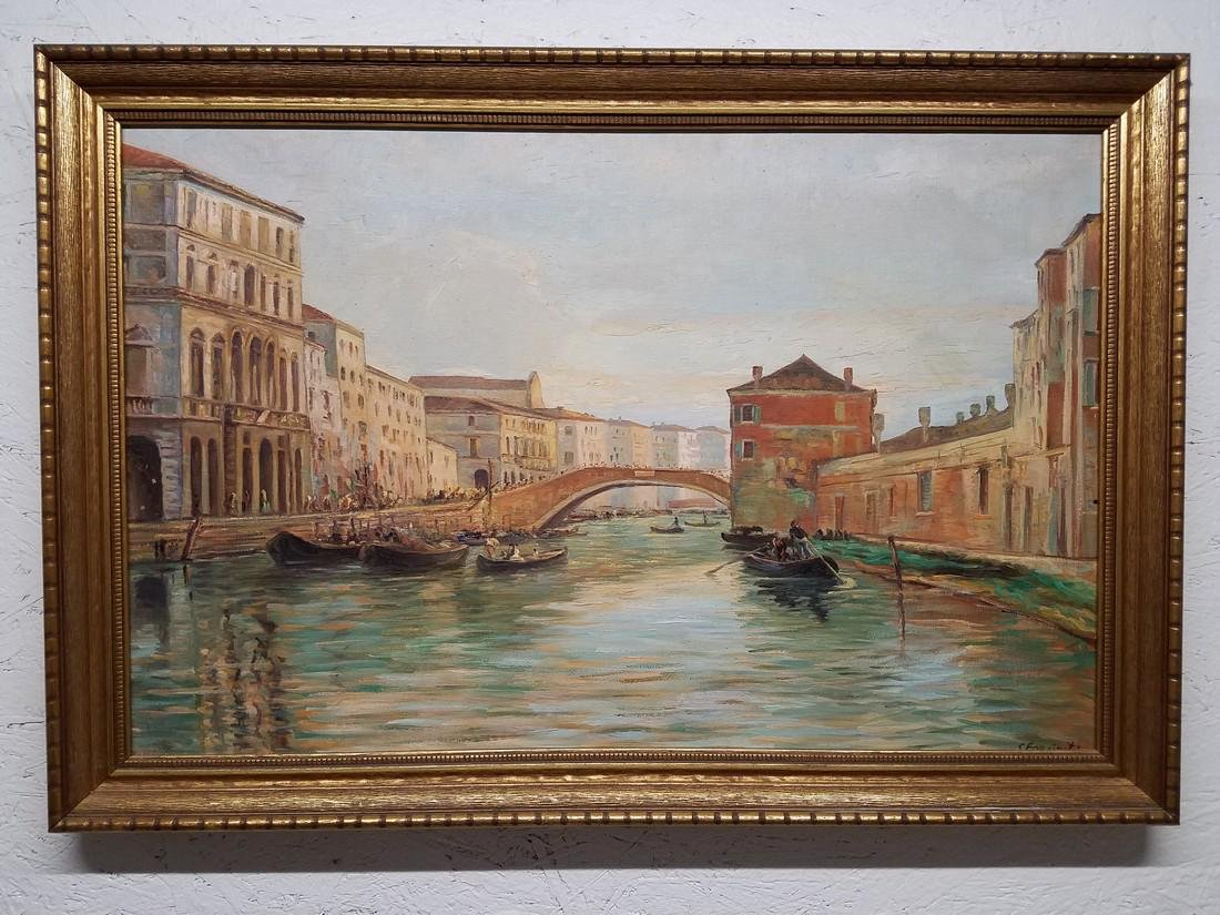 S. Forciniti Framed Oil Painting of Venice Waterway