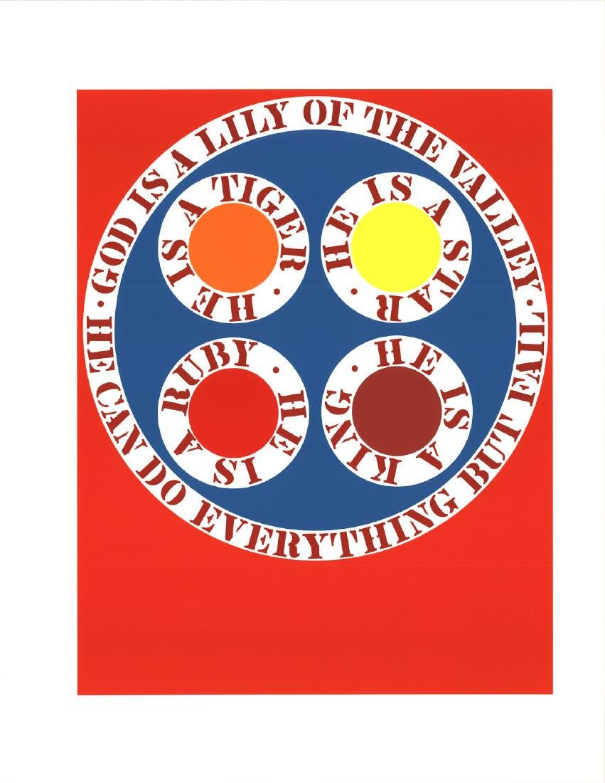 Robert Indiana Serigraph God Is Lily of the Valley