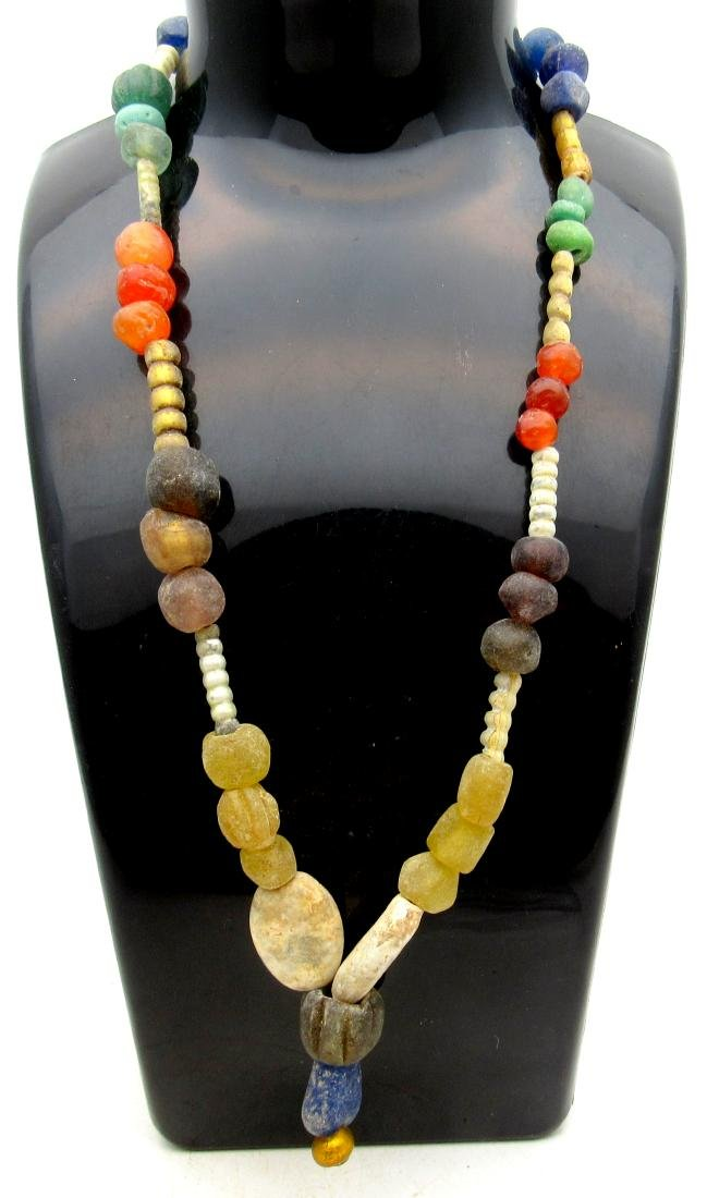 Ancient Roman Necklace & 48 Glass, Stone & Amber Beads
