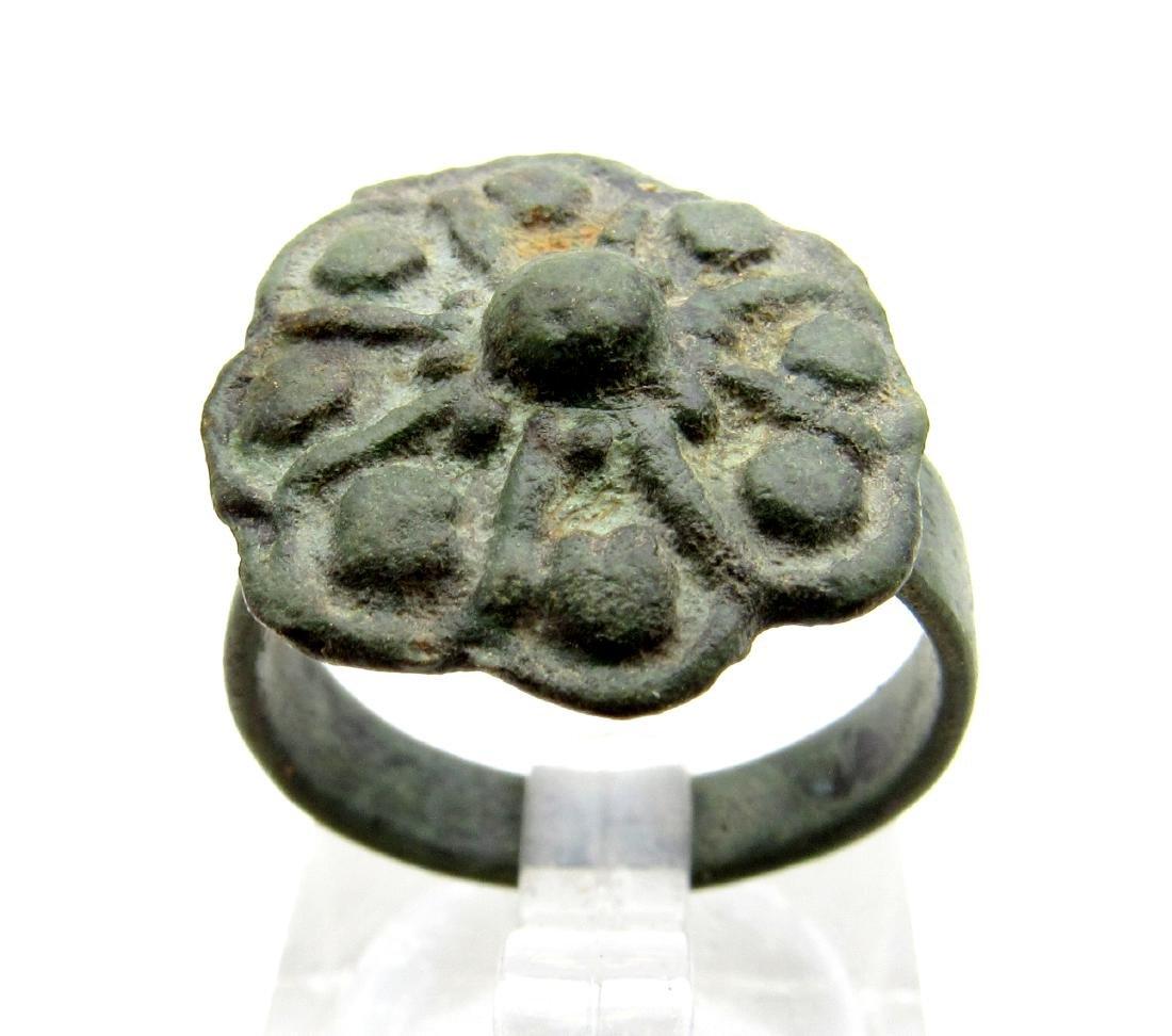 Late Medieval Tudor Bronze Ring with Flower Bezel